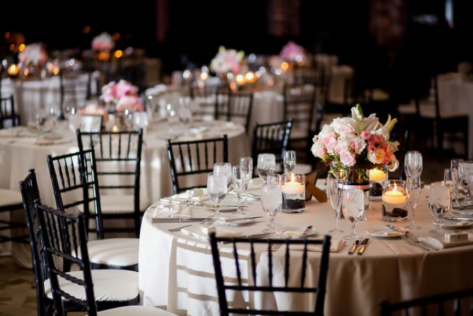 Pretty table in banquet hall